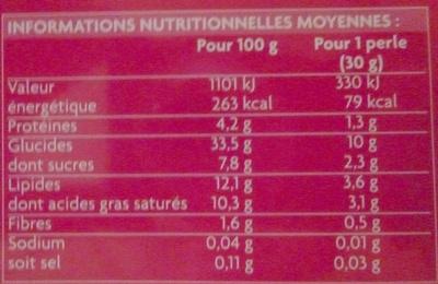 perle de coco - Nutrition facts - fr