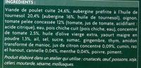Poulet à la libanaise et aubergines cuisinées à la tomate surgelés - Ingrediënten - fr
