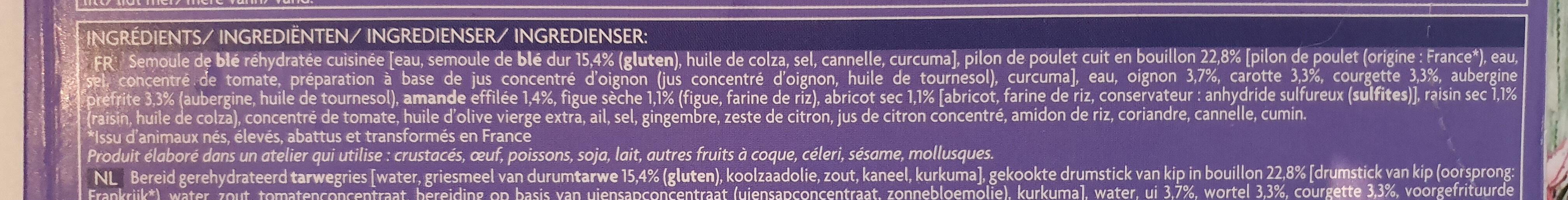 Tajine au poulet semoule et fruits secs - Ingrédients - fr