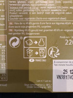 Raviolis vietnamiens aux légumes - Instruction de recyclage et/ou information d'emballage - fr