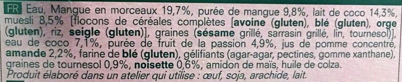 Granola gourmand Mangue-passion - coco - Ingrédients