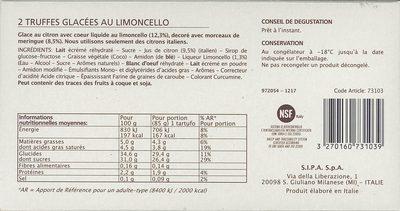 2 Tartufi al limoncello - Ingrediënten