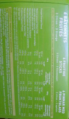 Bâtonnets fruités 3 citron-3 orange - Informations nutritionnelles
