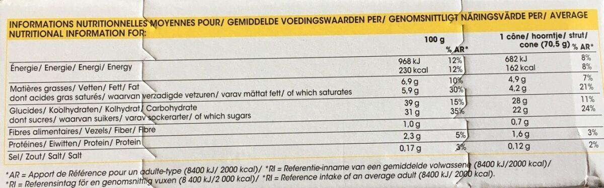Les inédits - 6 cônes citron - Voedingswaarden - fr