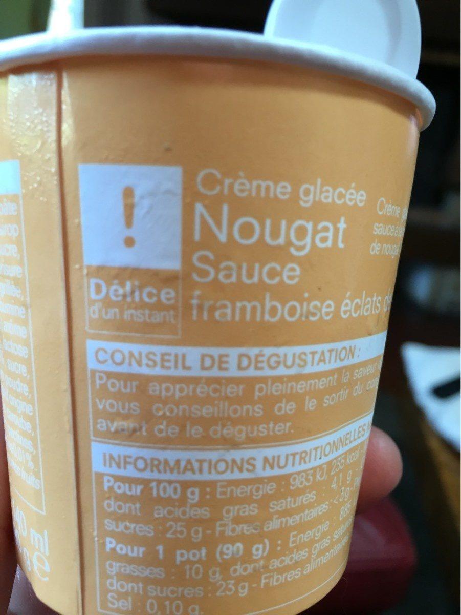 Creme nougart sauce framboise eclats de nougat - Produit