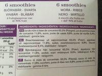 6 smoothies mûre - cassis - myrtille - Ingrediënten - fr