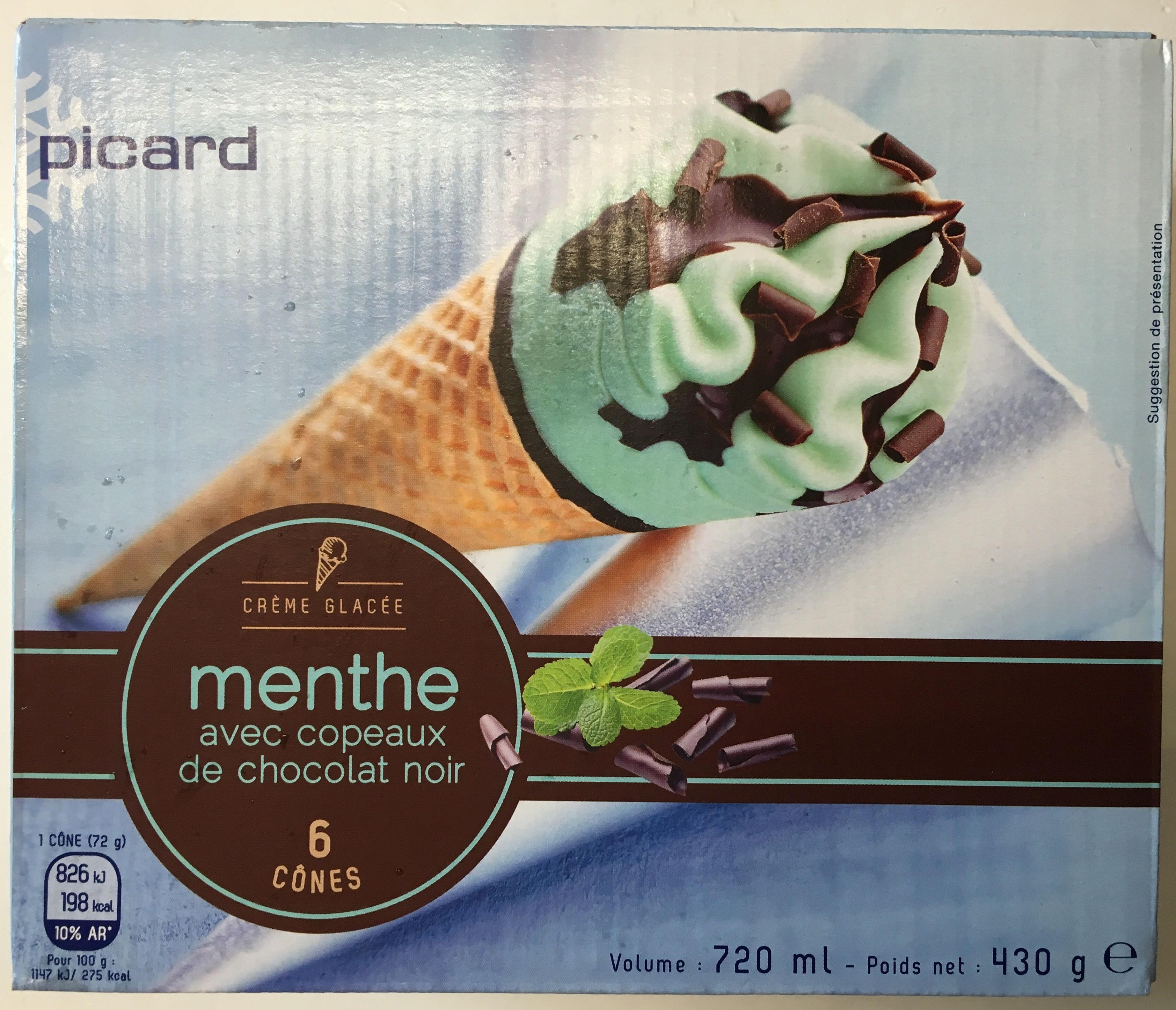 Crème glacée Menthe avec copeaux de Chocolat Noir 6 Cônes - Produit - fr