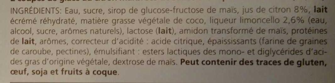 2 coupes glacées Limoncello - Ingrédients - fr