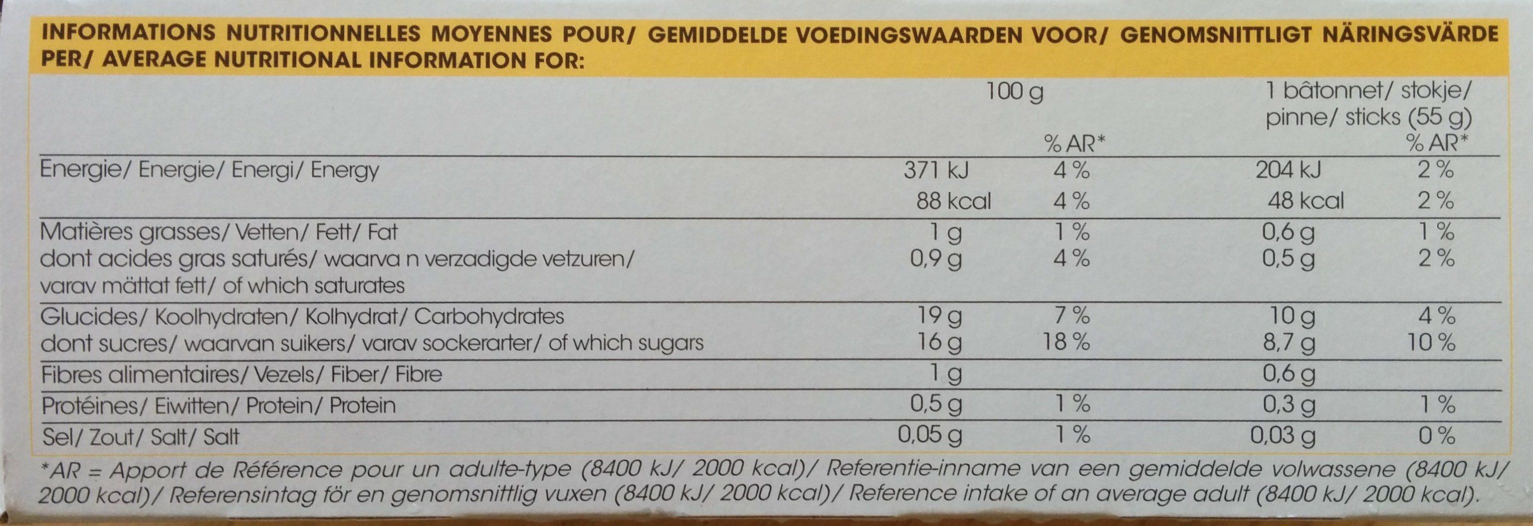 L'ensoleillé - bâtonnet fruité (mangue ananas coco) - Nutrition facts