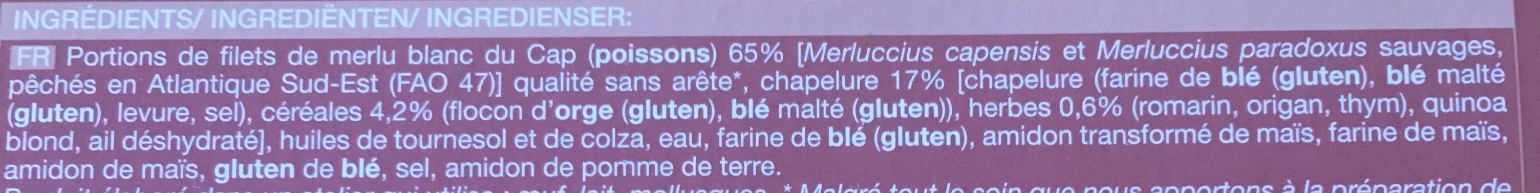 Aiguillettes de Merlu Blanc du Cap, Panure Céréales aux Herbes - Ingredients