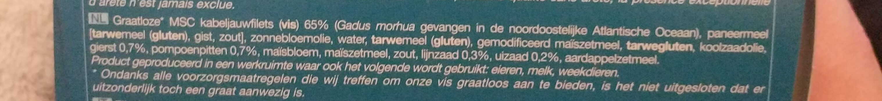 8 aiguillettes de Cabillaud panure multi-grains - Ingrediënten - nl