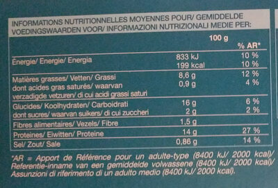 8 aiguillettes de Cabillaud panure multi-grains - Nährwertangaben - fr
