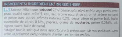 2 pavés de saumon mariné aromatisé au citron et au poivre - Ingredienti - fr