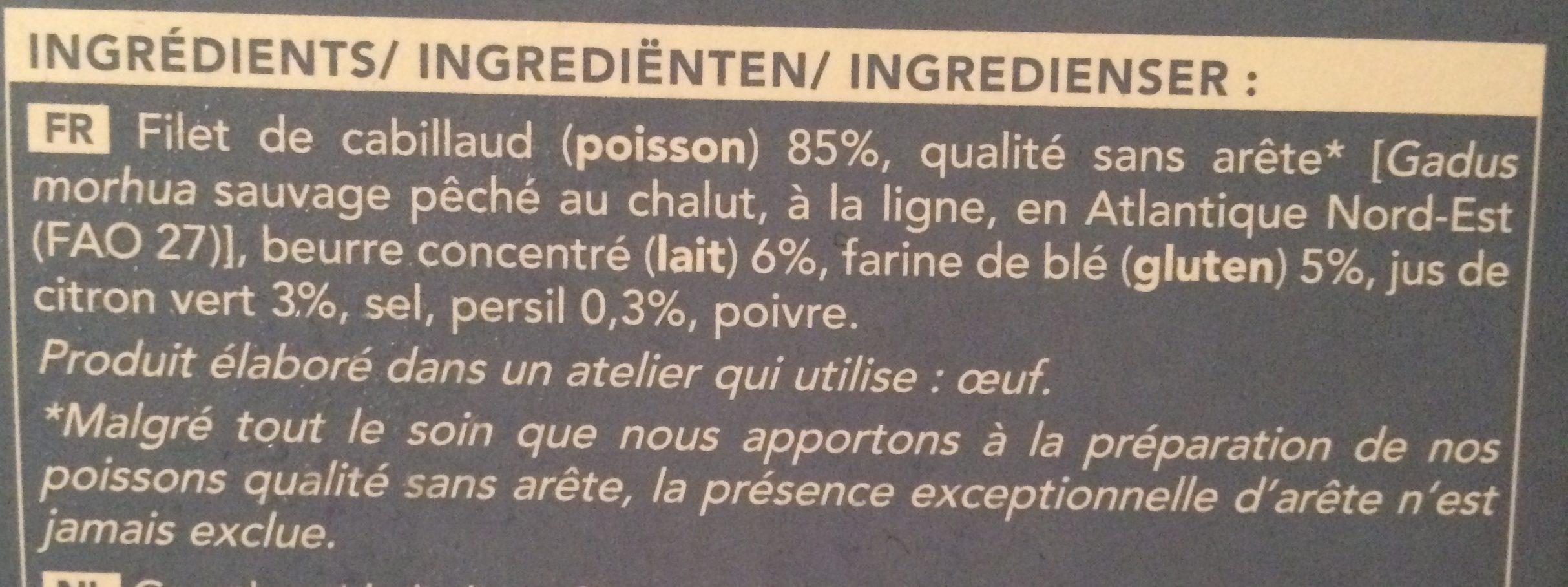 Filets de Cabillaud Meunière - Ingrédients