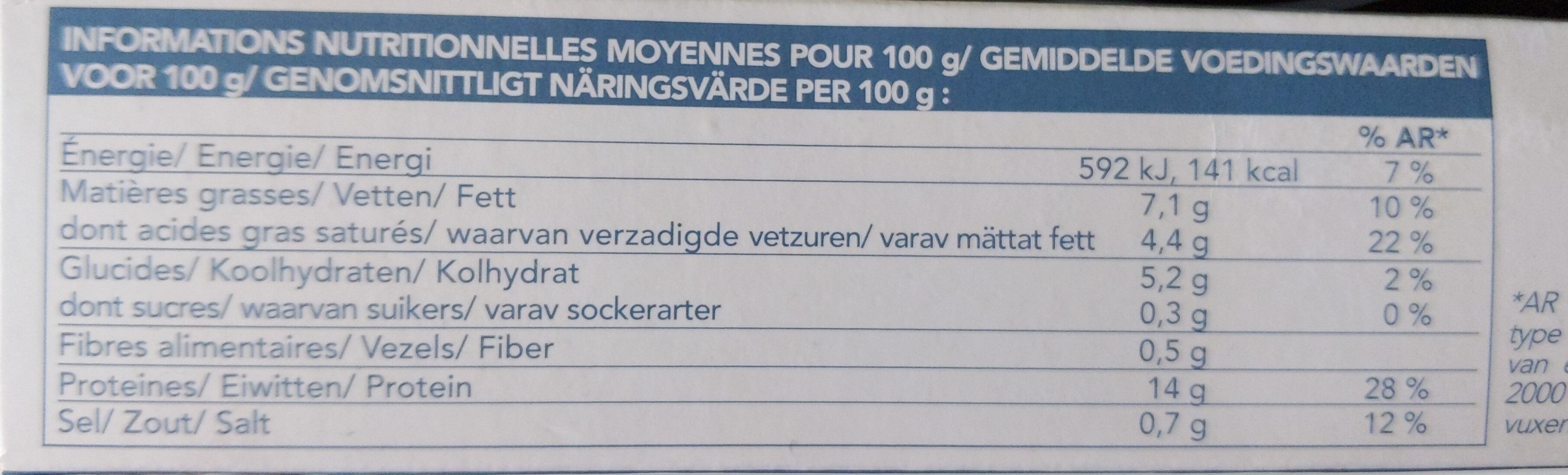 Filets de cabillaud meunière - Valori nutrizionali - fr