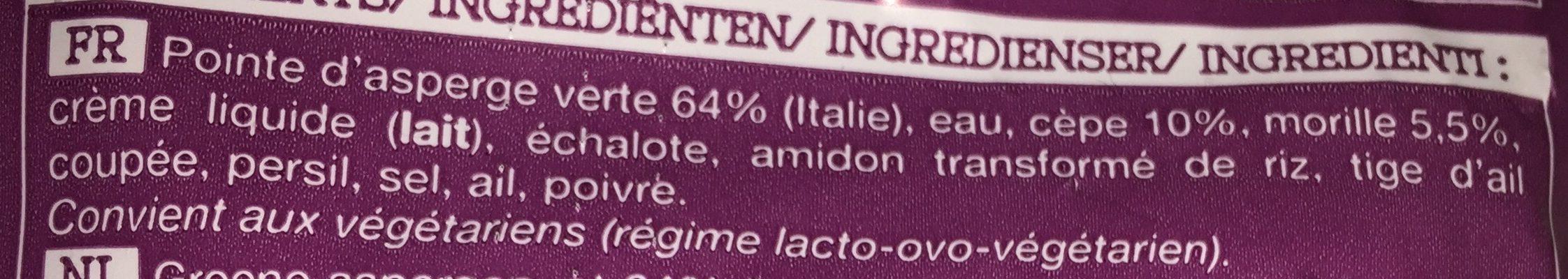 Asperges vertes cèpes - morilles - Ingrediënten - fr