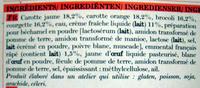 4 mini-gratins de légumes Carotte jaune et rouge, courgette, brocoli - Ingrédients