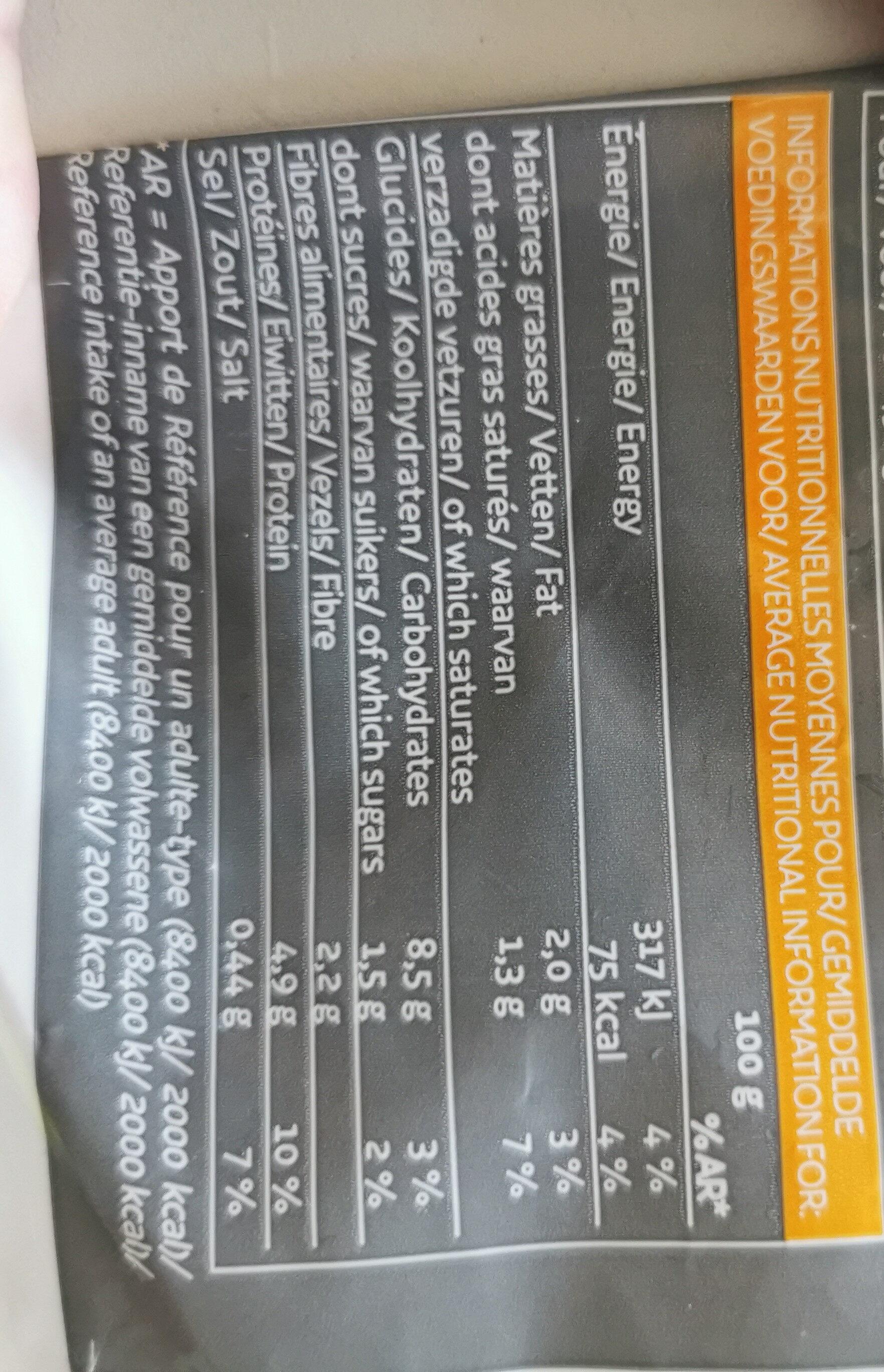 Fèves pelées à la provencale - Voedingswaarden - fr