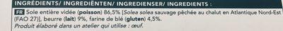 Soles au Beurre - Ingrédients - fr
