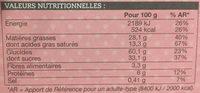 Sablés caramel-noisette au chocolat au lait - Informations nutritionnelles - fr