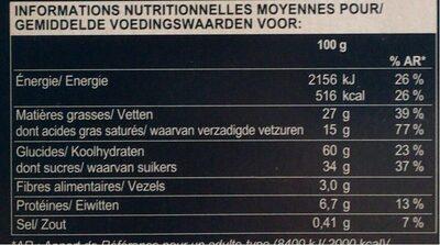 Sablés caramel-noisette au chocolat au lait - Informations nutritionnelles