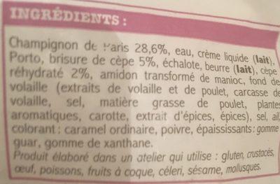 Sauce aux Champignons - Ingredients
