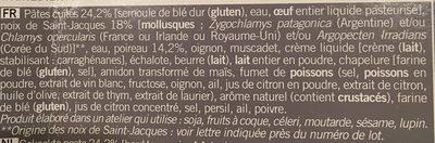 Gratin de Pâtes aux Saint-Jacques* et Fondue de Poireaux, Surgelé - Ingredients