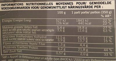 Gratin de Pâtes aux Saint-Jacques* et Fondue de Poireaux, Surgelé - Informations nutritionnelles