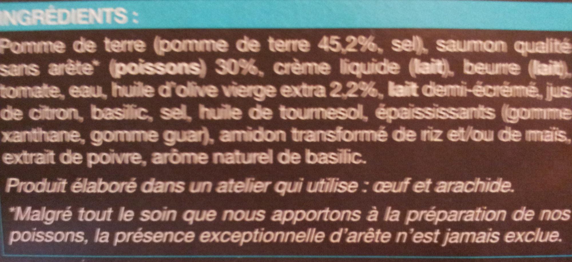 Saumon et écrasée de pomme de terre à l'huile d'olive (2,2%) - Ingredients - fr