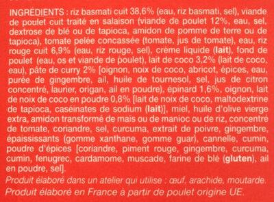 Poulet Au Curry Et Au Lait De Coco, Duo De Riz Picard - Ingredients