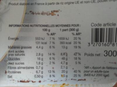 poulet au curry et au lait de coco, duo de riz - Valori nutrizionali - fr