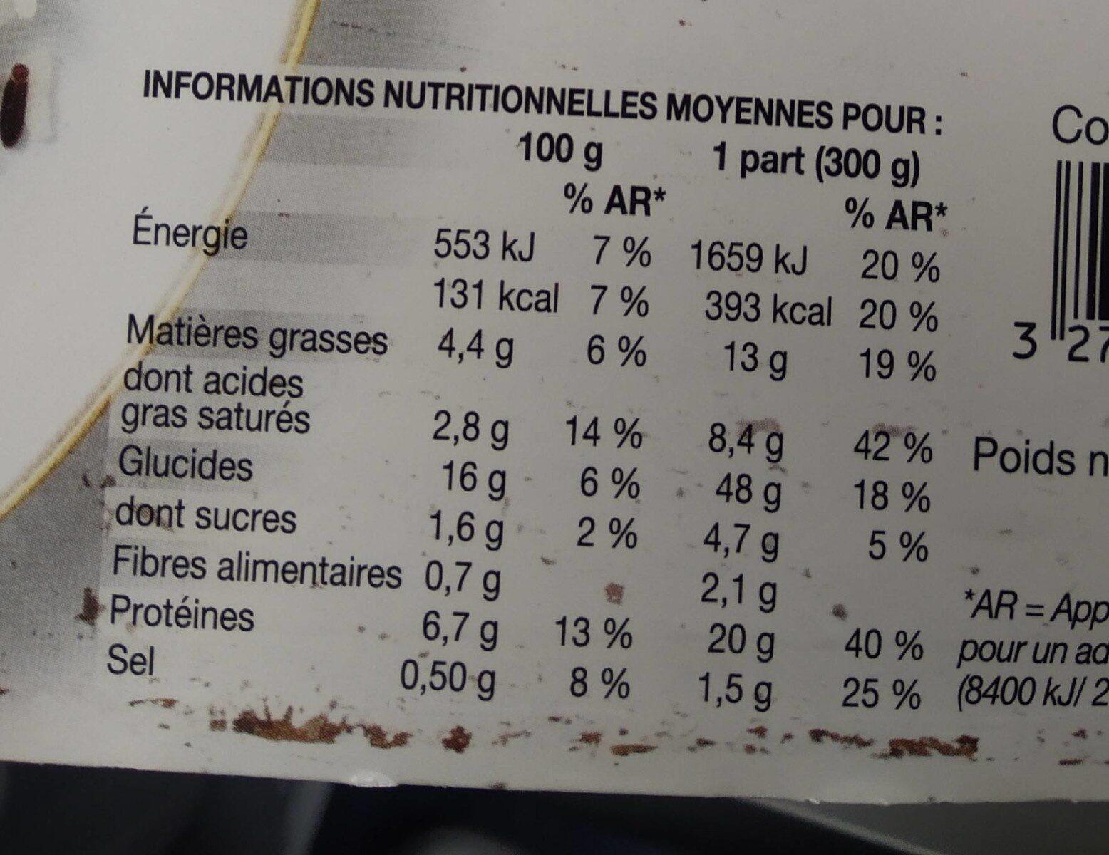 Poulet au Curry et au Lait de Coco, duo de Riz - Informations nutritionnelles - fr
