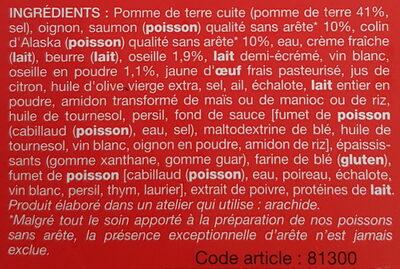 Saumon et Colin d'Alaska à l'oseille, pommes de terre - Ingredients - fr