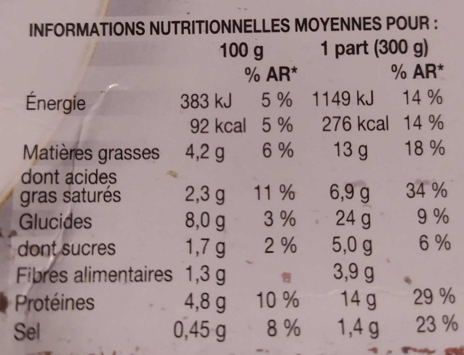 Saumon et Colin d'Alaska à l'oseille, pommes de terre - Nutrition facts - fr