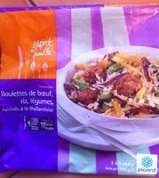 Boulettes de boeuf, riz, légumes, cuisinés à la thaïlandaise - Product