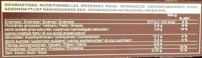 Lasagnes Légumes Grillés, Mozzarella - Informations nutritionnelles