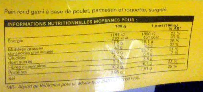 Bagel Poulet, Parmesan, Roquette - Informations nutritionnelles - fr