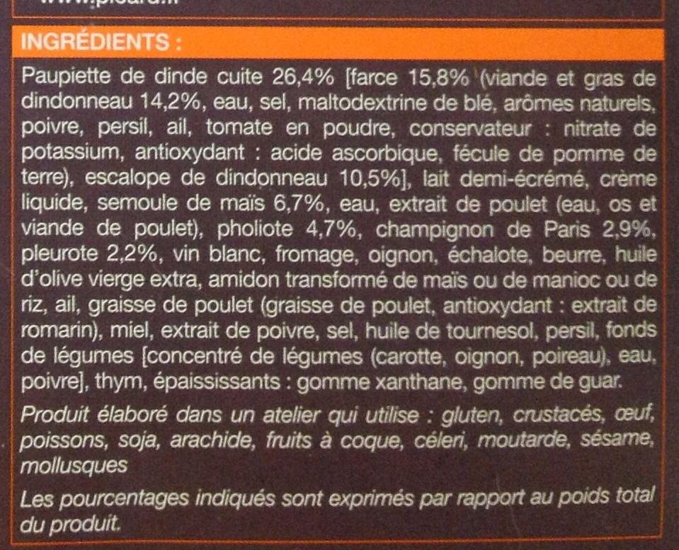 Paupiette de dinde et polenta aux champignons surgelées - Inhaltsstoffe - fr