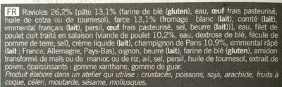 Gratin de ravioles au poulet et aux champignons - Ingrédients - fr