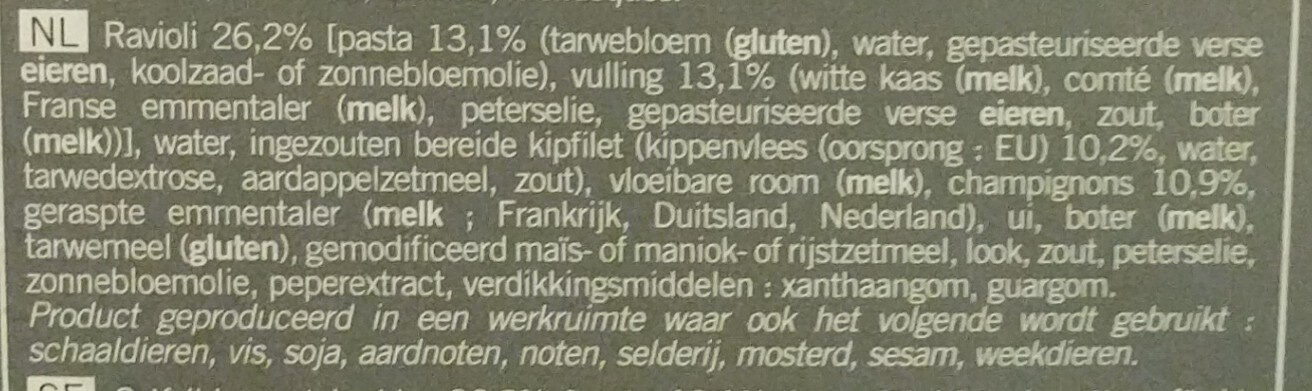Gratin de ravioles au poulet et aux champignons - Ingrediënten - nl