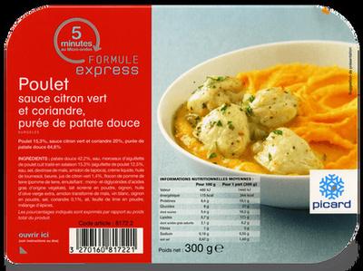 Poulet sauce citron vert et coriandre, purée de patate douce - Produit - fr