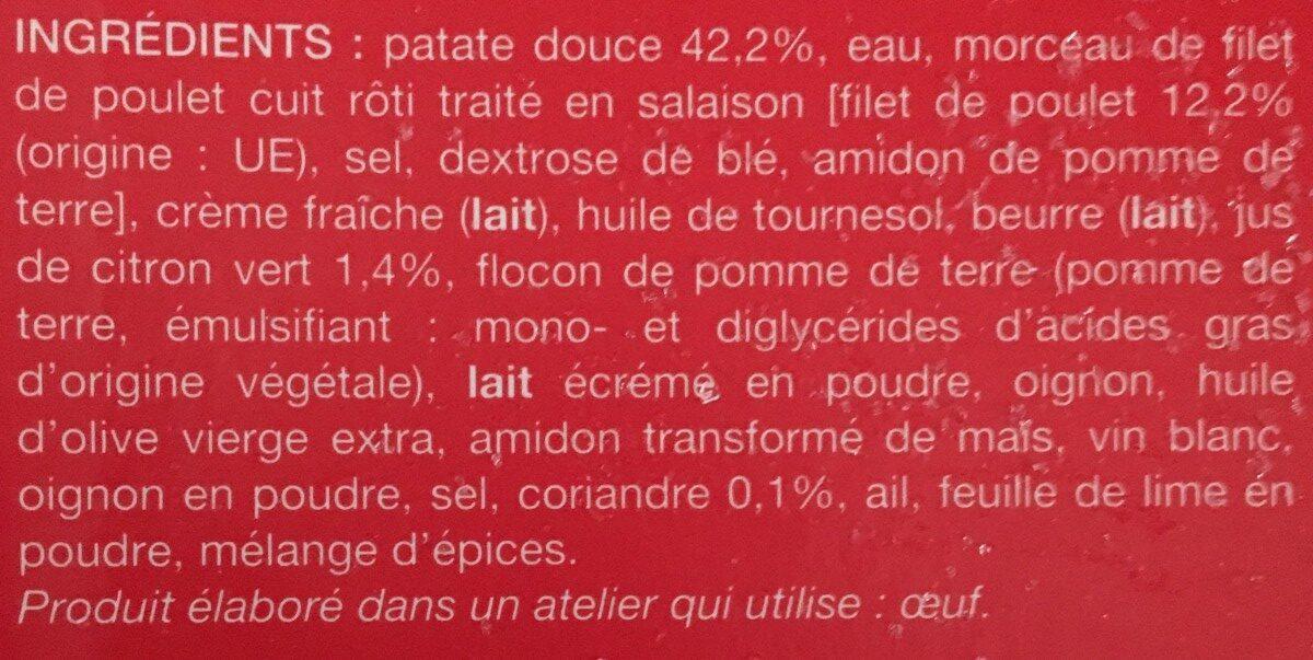 Poulet sauce citron vert et coriandre, purée de patate douce - Ingrédients - fr