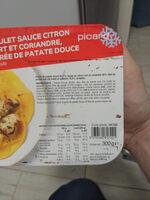 Poulet sauce citron vert et coriandre, purée de patate douce - Ingredientes - fr