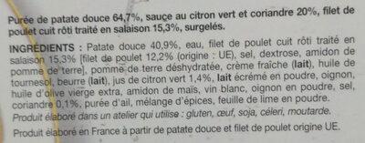 Poulet sauce citron vert et coriandre, purée de patate douce - Ingrédients