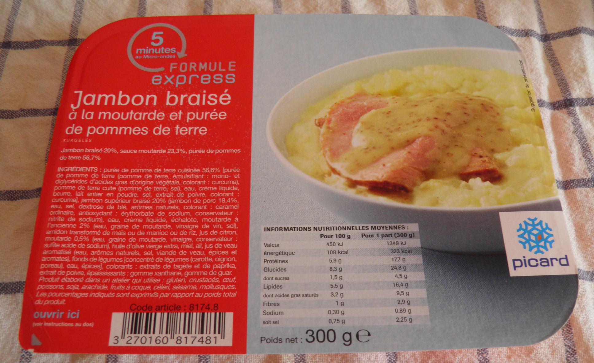 Formule express Jambon braisé à la moutarde de purée de pommes de terre Picard - Product