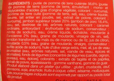 Formule express Jambon braisé à la moutarde de purée de pommes de terre Picard - Ingredients