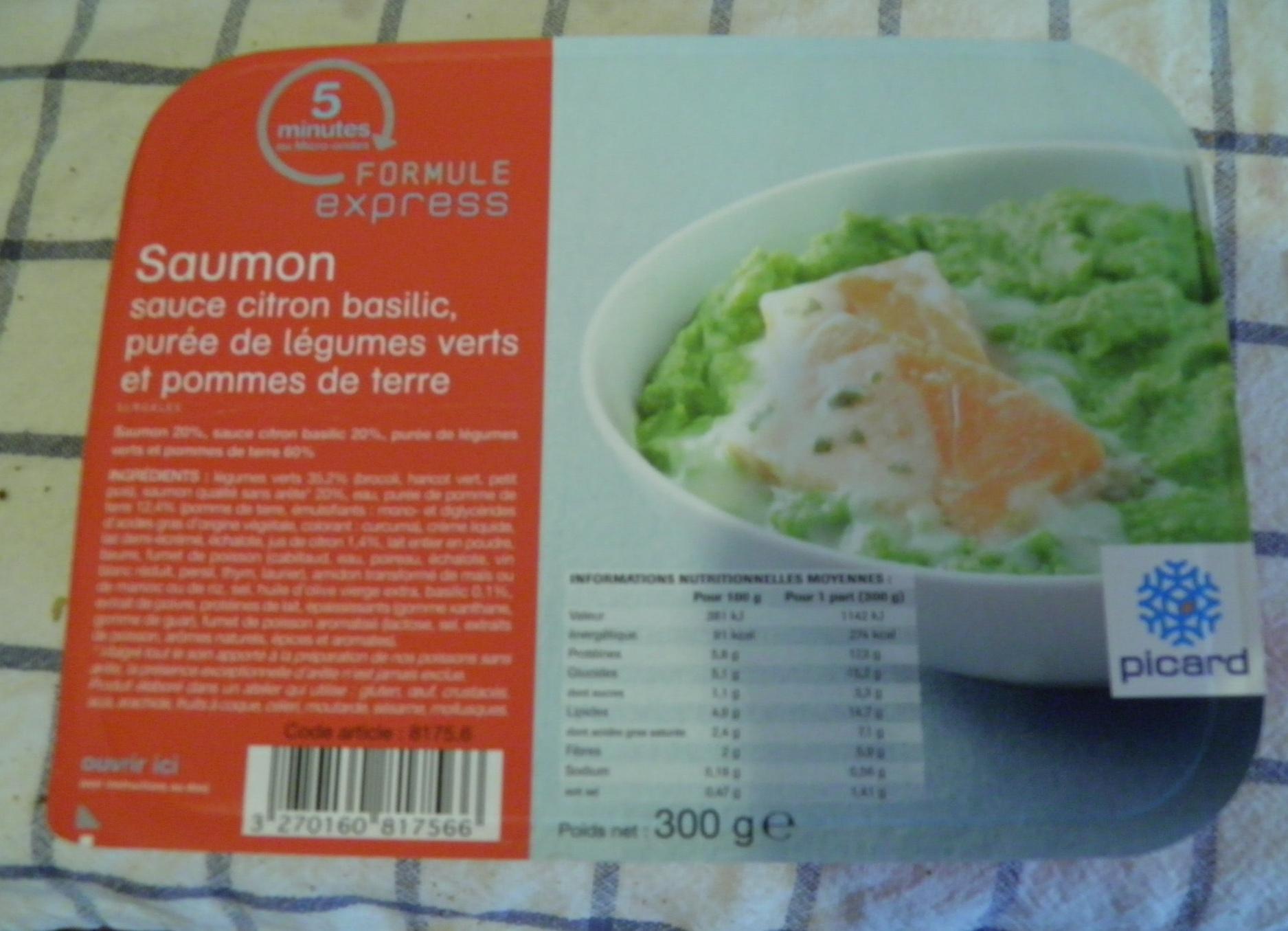 saumon sauce citron basillic pur e de l gumes verts et pommes de terre picard 300 g. Black Bedroom Furniture Sets. Home Design Ideas
