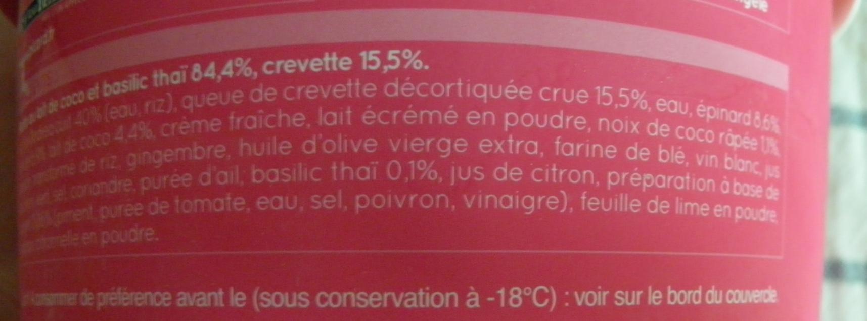 Crevettes risotto-lait de coco-basilic thaï, surgelés - Ingrédients - fr