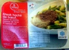 Steak haché de boeuf, sauce au poivre, pomme de terre et haricot vert - Product