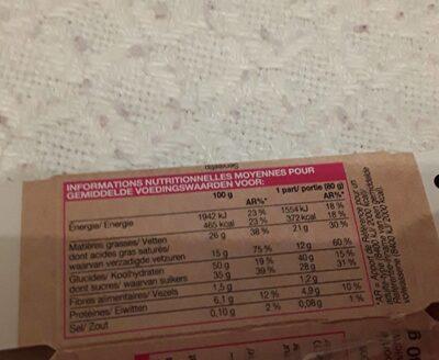 Blondie - Nutrition facts - fr